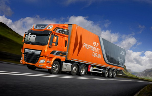 Picture greens, the sky, clouds, mountains, orange, movement, track, DAF, tractor, DAF, Space Cab, 2015, the …