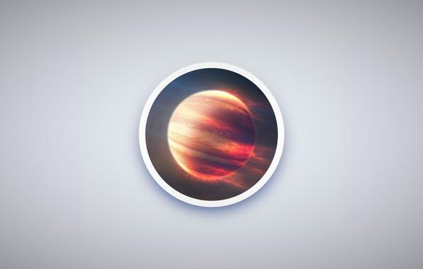Picture space, minimalism, planet, circle, Jupiter, simple design