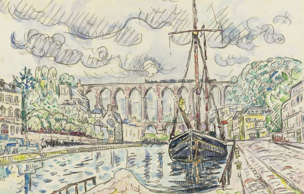 Picture the city, figure, ship, port, watercolor, Paul Signac, Morlaix