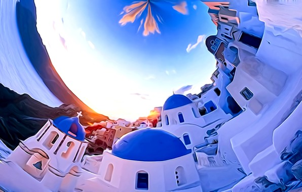 Picture sea, the sky, clouds, the city, rendering, fantasy, white, blue, island, Santorini, picture, confined space