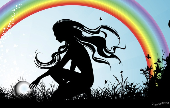 Picture girl, rainbow, silhouette