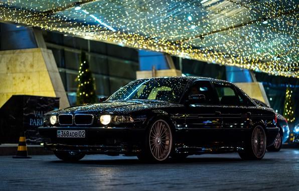Picture BMW, City, Light, Night, Alpina, E38, Kazakhstan, Almaty, 740Li