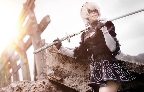 Picture pose, headband, sword, cosplay, Nier Automata, No. 2 Yorha