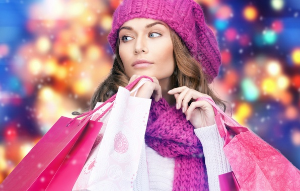 Picture winter, girl, model, hat, hair, makeup, scarf, purchase, manicure, packages, shopping