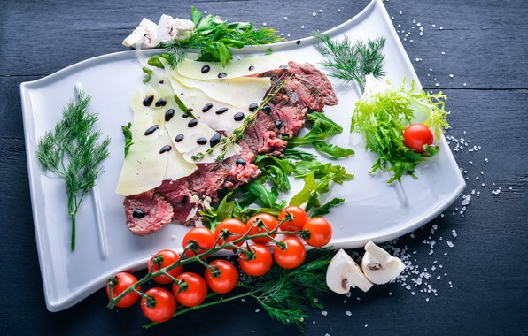 Picture greens, mushrooms, food, cheese, meat, cutting, salt, meal, italian, sauce, tomatoes-cherry, parmesan, veal