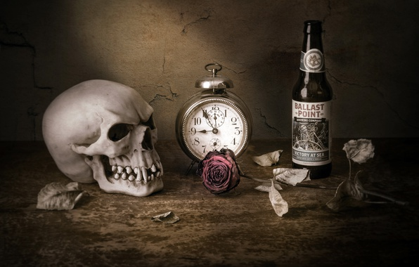 Picture watch, rose, skull, bottle