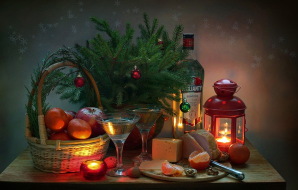 Picture holiday, spruce, Still life, Martini, tangerines, ham