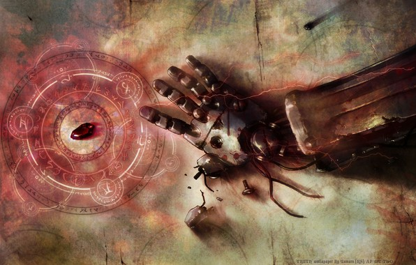 Picture fullmetal alchemist, stone, anime, art, hand, broken, rust, transmutational circle, automail, philosopher stone