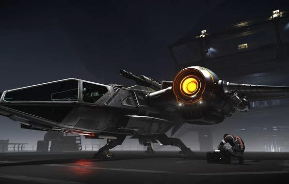 Picture station, pilot, starship, Star Citizen, Drake Buccaneer