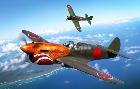 Photo Wallpaper The Second World War Mitsubishi WW2 Painting P 40