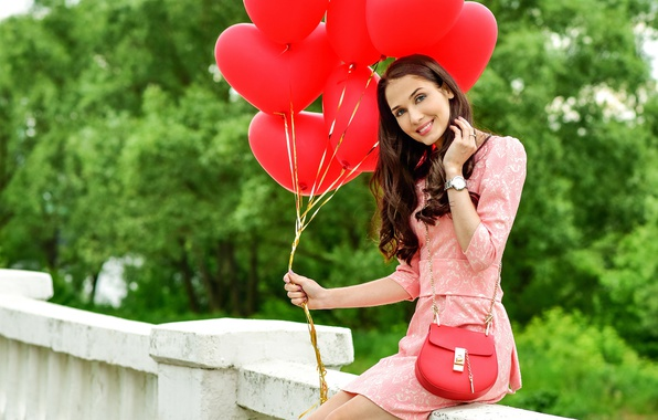 Picture greens, girl, smile, Park, makeup, dress, pink, hairstyle, hearts, brown hair, bag, red, Valentine's day, …