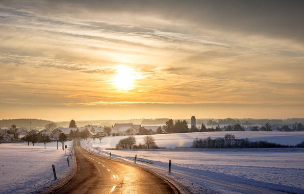 Picture winter, road, snow, sunset, the city