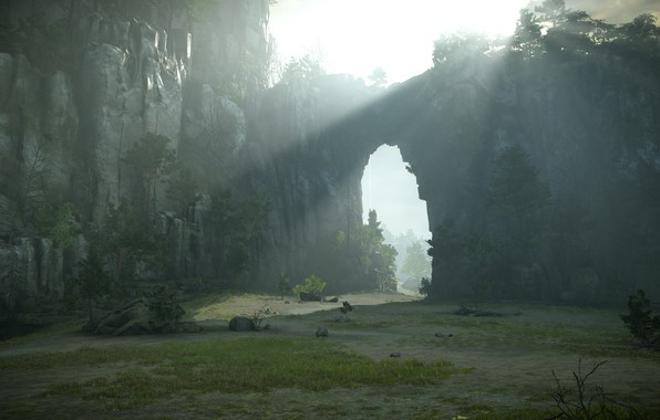 Picture rocks, the sun's rays, Shadow of the Colossus, In the shadow of the colossus, god …