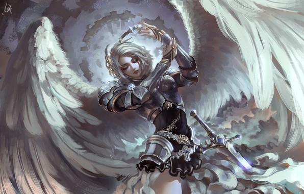 Picture girl, sword, fantasy, armor, wings, crown, Angel, digital art, artwork, warrior, fantasy art, painting art, …