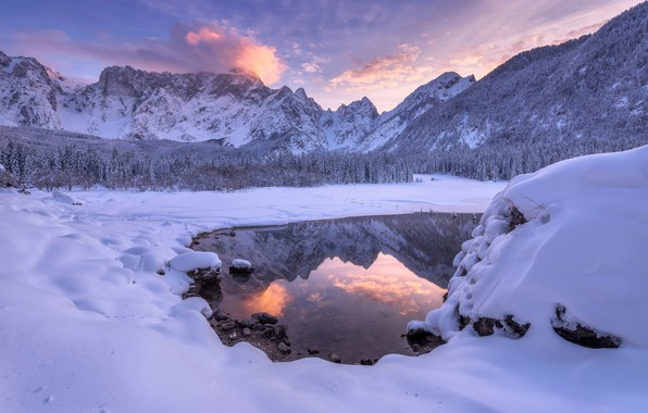 Picture winter, forest, snow, sunset, mountains, lake, reflection, Italy, the snow, Italy, The Julian Alps, lake …