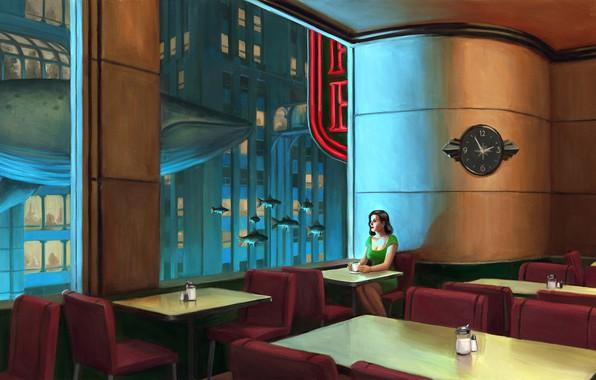 Photo wallpaper girl, the city, house, coffee, fish, art, kit, bioshock, Rapture