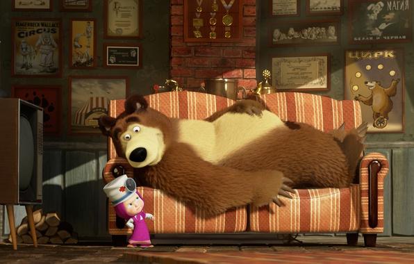 Picture sofa, cartoon, TV, Dr., Masha and the Bear