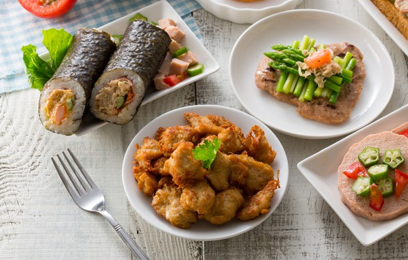 Picture food, fish, rolls, Cuts