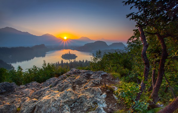 Picture forest, sunset, mountains, lake, island, panorama, Slovenia, Lake Bled, Slovenia, Lake bled, Bled, Bled, The ...
