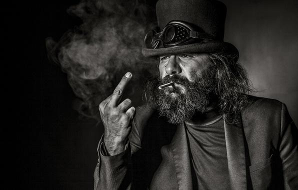 Picture background, portrait, man, glasses, cigarette, beard, gesture, middle finger, cylinder
