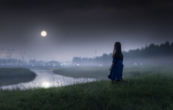 Photo wallpaper girl, night, the moon, mood, river