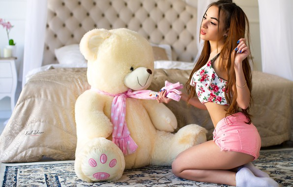 Picture girl, shorts, long hair, legs, photo, photographer, model, bokeh, face, brunette, bed, body, breasts, teddy …