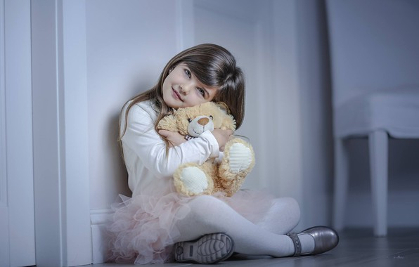 Picture mood, toy, girl, bear, Teddy bear, Alessandro Di Cicco