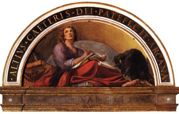 Picture arch, eagle, Antonio Allegri Correggio, religious painting, SV. John The Baptist