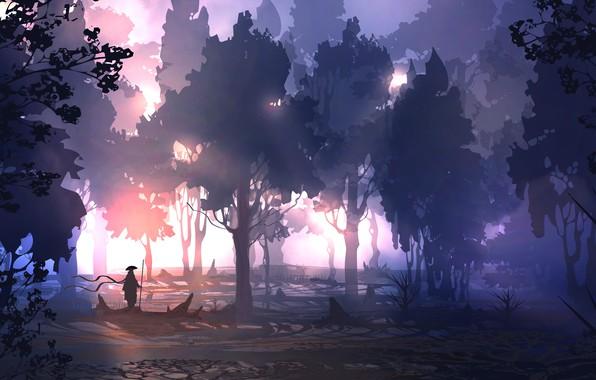 Picture forest, light, trees, people, warrior, art, spear, DeviantArt, TacoSauceNinja