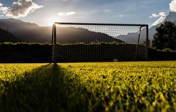 Photo wallpaper field, light, football, gate
