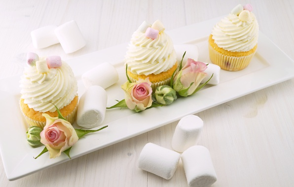 Picture food, roses, plate, buds, cream, cakes, sweet, cupcakes, marshmallows