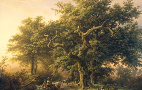 Picture animals, landscape, oil, canvas, Barend Cornelis Koekkoek, The Edge Of The Forest