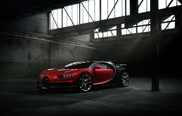 Picture Bugatti, Dark, Black, RED, VAG, Chiron