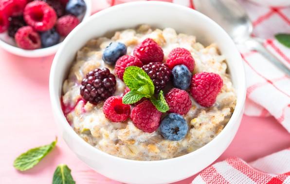 Picture berries, raspberry, Breakfast, milk, blueberries, oatmeal
