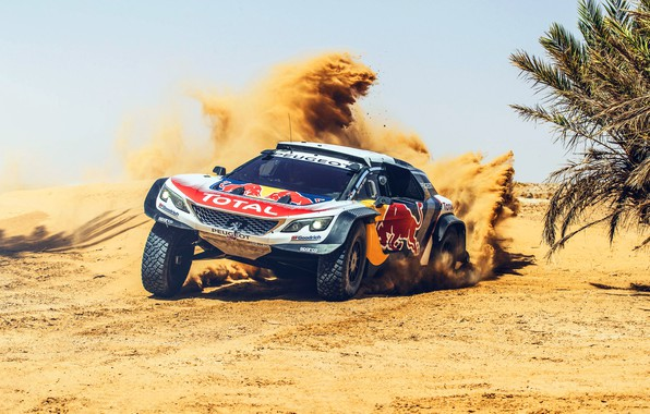 Picture Sand, Sport, Speed, Skid, Peugeot, Red Bull, Rally, Rally, Sport, The front, RedBull, DKR, 3008, …