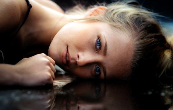 Picture girl, photo, photographer, water, blue eyes, model, bokeh, lips, face, blonde, reflection, portrait, mouth, close …
