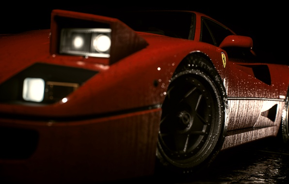 Picture auto, drops, lights, car, Ferrari, racing, Need For Speed, 2016