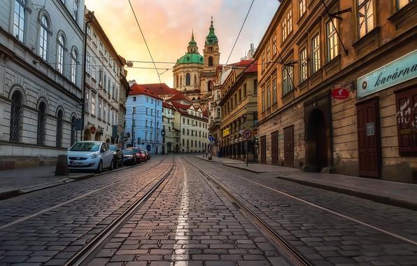 Picture the evening, Prague, Czech Republic, bridge, the Church