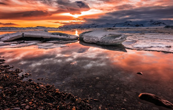 Picture ice, winter, the sky, the sun, clouds, snow, landscape, sunset, mountains, clouds, pebbles, reflection, stones, …