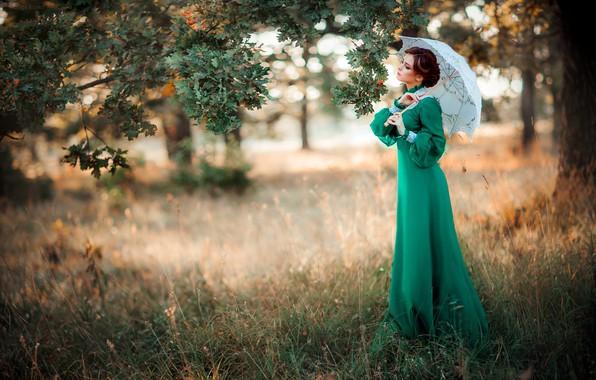 Picture girl, style, retro, umbrella, tree, mood, dress, oak, Alexander, Olga Boyko
