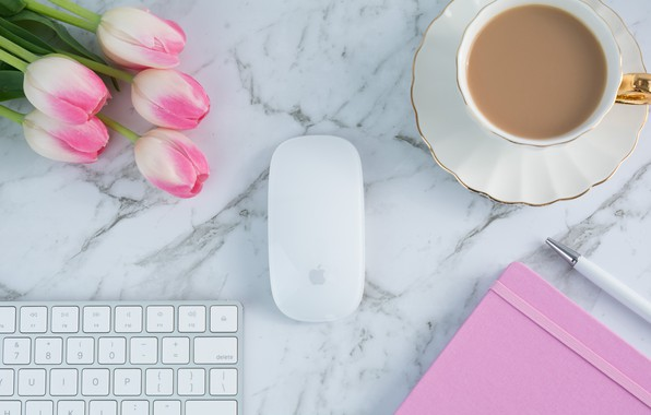 Picture coffee, Cup, tulips, Notepad, keyboard, pink, flowers, cup, tulips, coffee, tender