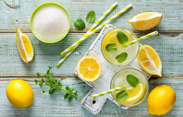 Picture lemon, sugar, citrus, drink, mint