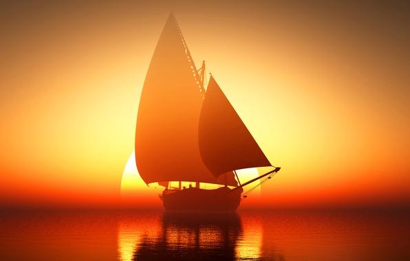 Picture sea, the sun, sunrise, ship, sailboat, horizon, glow