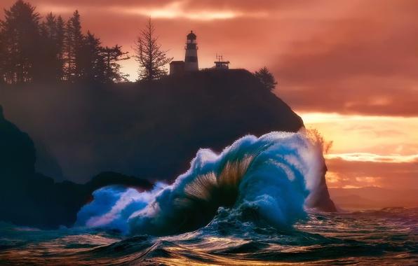 Picture sea, light, the ocean, rocks, shore, wave, lighthouse
