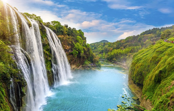 Picture landscape, river, rocks, waterfall, summer, river, landscape, beautiful, waterfall, tropical