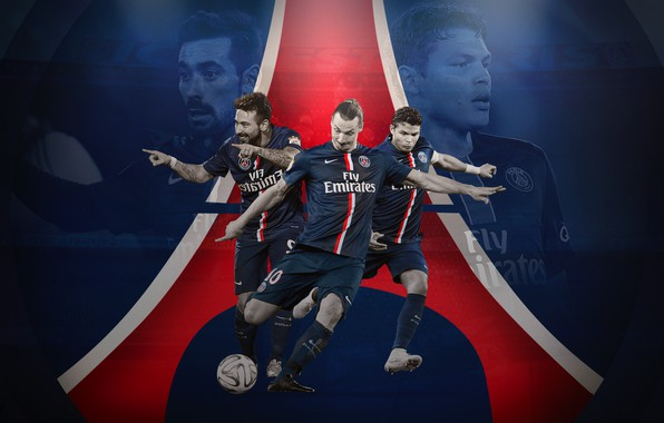 Picture wallpaper, sport, logo, football, Paris Saint-Germain, players