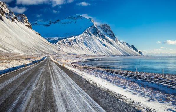 Picture winter, road, sea, mountains