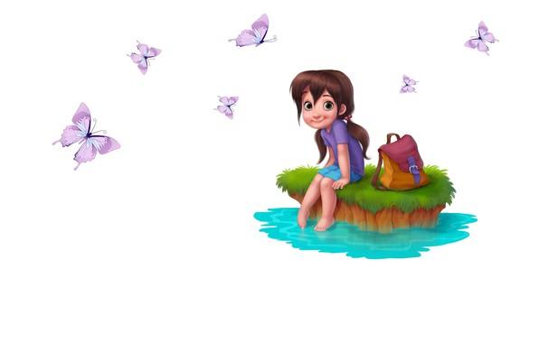 Picture summer, stream, mood, butterfly, art, girl, children's, Daydreaming, Martina Petrova