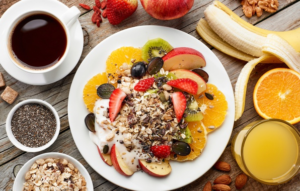 Picture berries, coffee, Breakfast, fruit, nuts, muesli, cereal