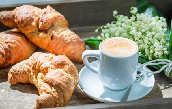 Picture coffee, Breakfast, Cup, lilies of the valley, croissants, breakfast